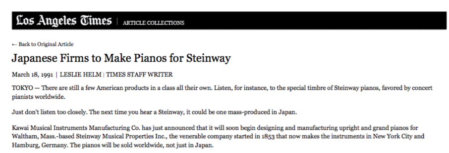Kawai to make pianos for Steinway